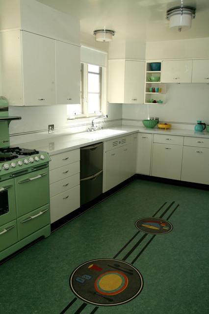Retro midcentury kitchen los angeles by crogan for Modern linoleum flooring