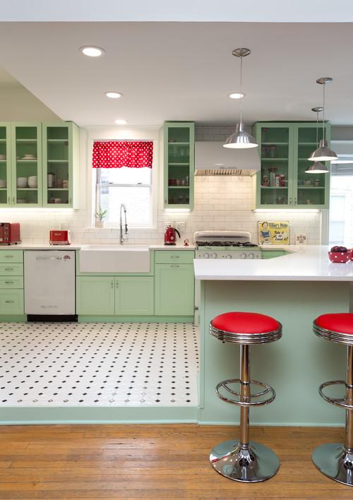 mint green kitchen - cool tones