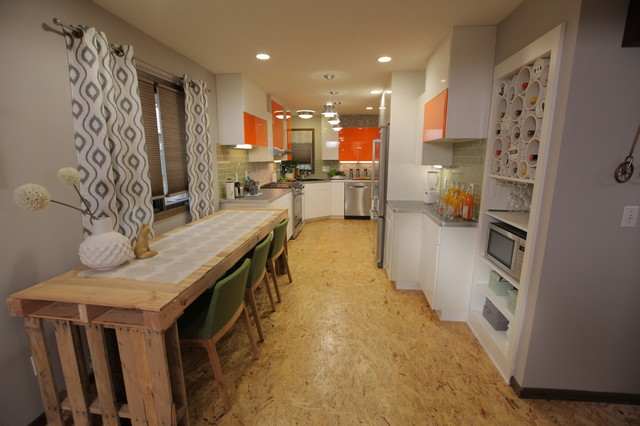 Eat In Kitchen   Mid Sized Eclectic Galley Plywood Floor Eat In Kitchen