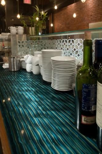 Ribbon Glass Bar Countertop Contemporary Kitchen