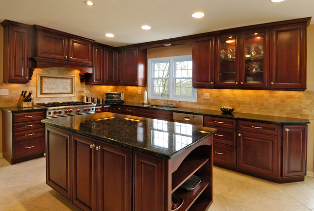 rich cherry kitchen traditional kitchen chicago by