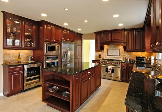 Rich Cherry Kitchen Traditional Kitchen Chicago By