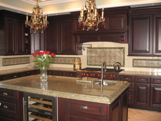 Rich dark cherry remodel traditional kitchen new for Traditional dark kitchen cabinets