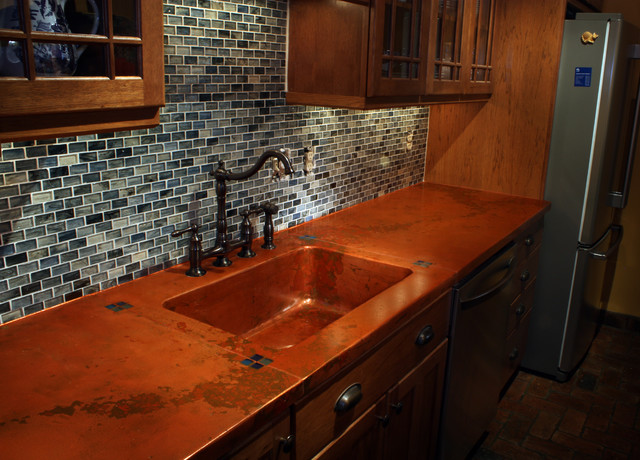 Richmond VA Copper Concrete Countertop mediterranean kitchen