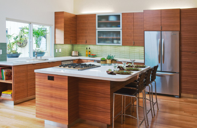 Rio del mar kitchen with natural lighting and wood for Mid century modern kitchen lighting