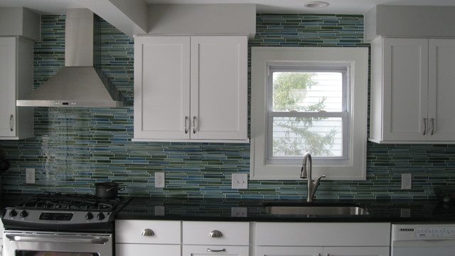 rip curl hand painted glass tile backsplash contemporary kitchen