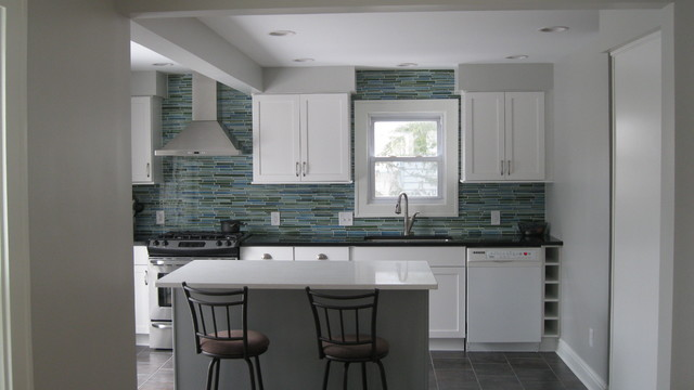 Rip Curl Linear Mosaic Tile Kitchen Backsplash Contemporary Kitchen
