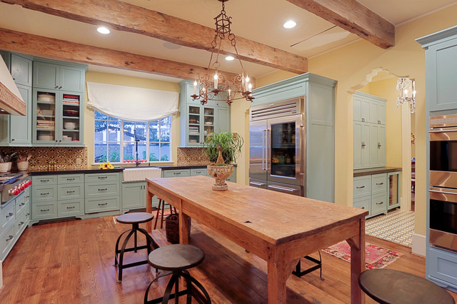 river oaks custom home, houston, texas - mediterranean - kitchen