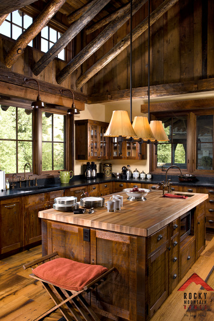Riverside Rustic Rocky Mountain Homes Rustic Kitchen