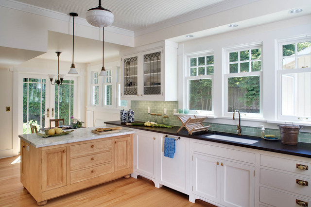 example of an ornate kitchen design in seattle with subway tile backsplash an undermount sink arts and crafts window   houzz  rh   houzz com