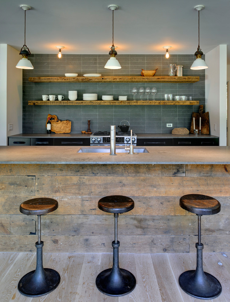 Inspiration for a contemporary kitchen remodel in New York with gray backsplash, open cabinets and an undermount sink