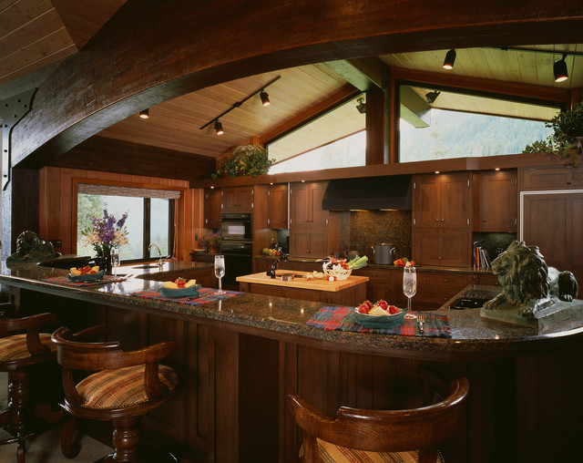 Rocky mountain home traditional kitchen denver by for Mountain kitchen designs