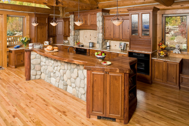 Rustic Kitchen Idea In Denver With Recessed Panel Cabinets, Dark Wood  Cabinets, Wood