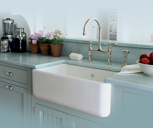 Rohl Single Bowl Fireclay Apron Kitchen Sink - Traditional - Kitchen ...