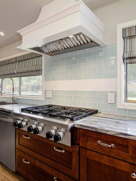 10 12x12 Kitchen Design Photos with Blue Backsplash, Medium Tone Wood ...