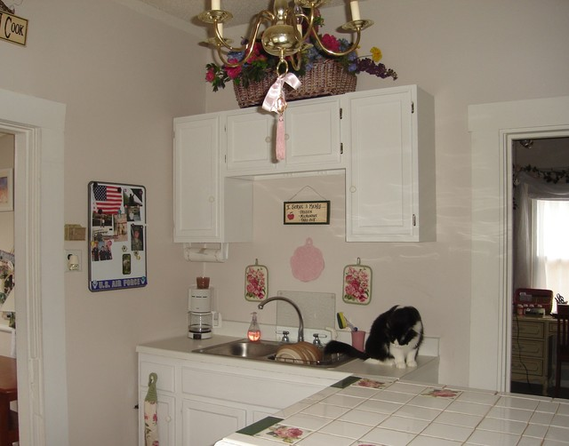Romantic Country Pink and White Kitchen
