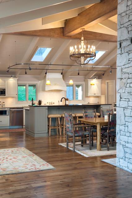 Romantic Prairie Lodge Rustic Kitchen Kansas City