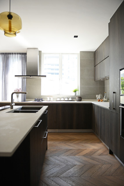 Inspiration for a contemporary kitchen remodel in Hong Kong with an undermount sink, flat-panel cabinets, dark wood cabinets, gray backsplash and stainless steel appliances