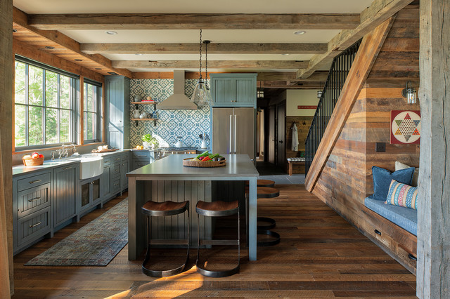 Round Lake Lodge rustic-kitchen