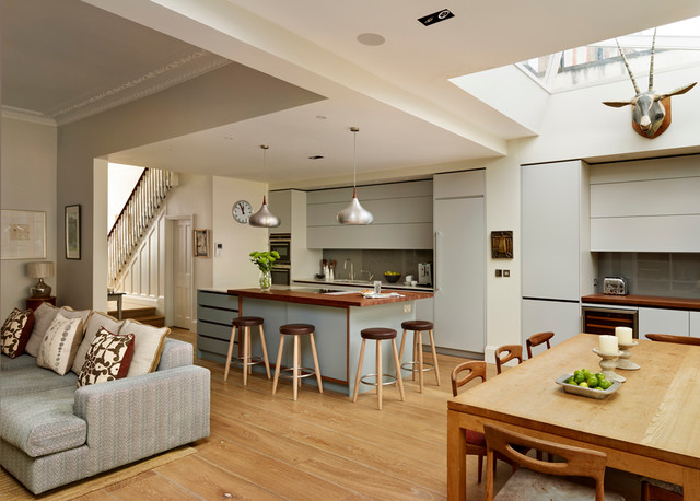 Exceptionnel Example Of A Large Trendy Medium Tone Wood Floor Open Concept Kitchen  Design In London With