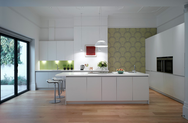 Large Trendy Open Concept Kitchen Photo In London With An Undermount Sink,  Flat Panel