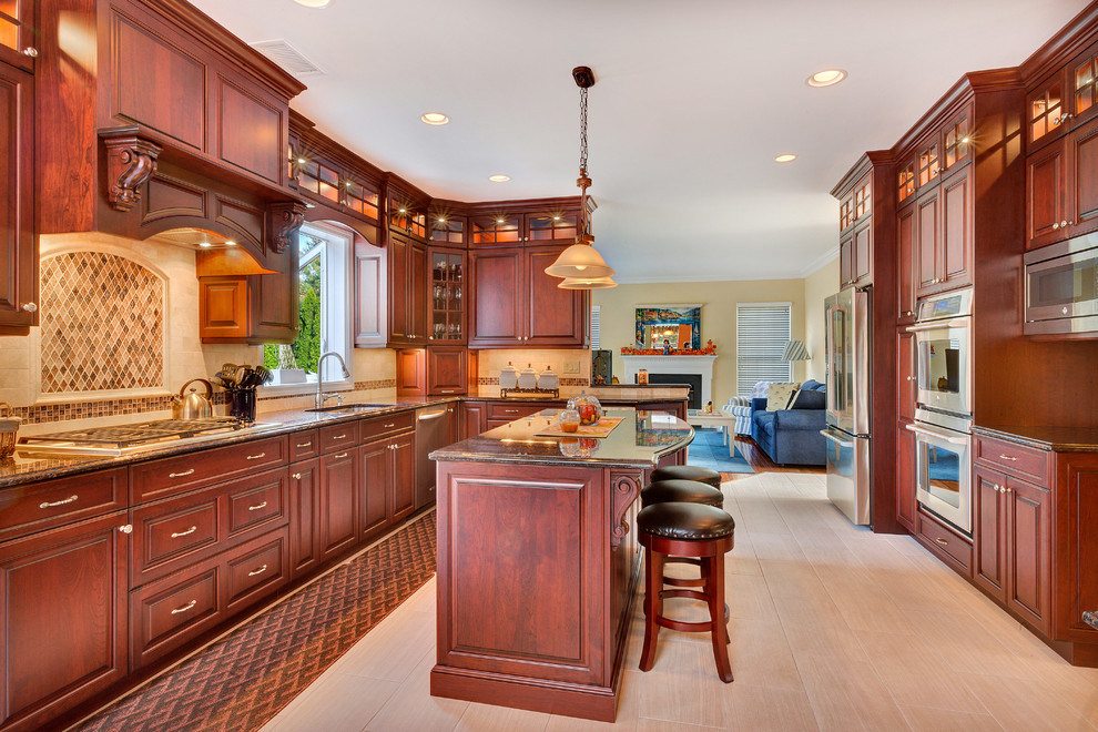 Row of Glass Cabinets Up To Ceiling - Traditional ...