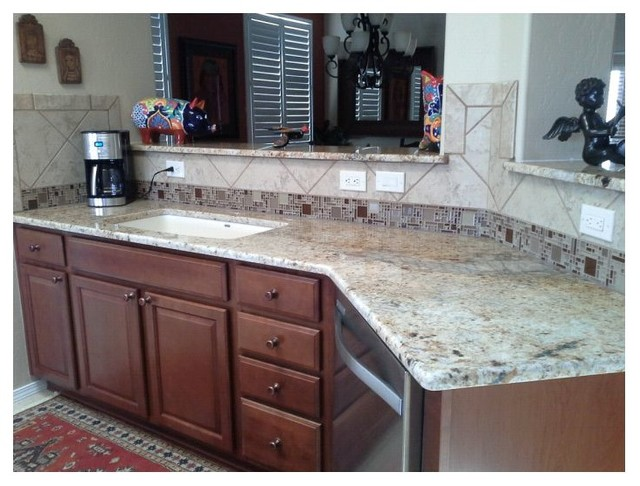 ... Residence - Cafe Cream Granite Kitchen and Bathrooms rustic-kitchen