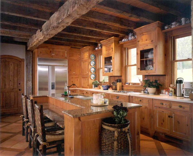 Rural indiana log cabin addiiton renovation for Log home kitchens gallery