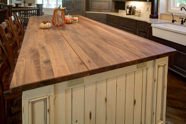 Rustic Alder Cabinetry With Painted And Glazed Island