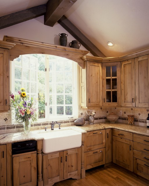 A Large Country Kitchen With Knotty Alder Cabinets Cabinets Have The Look Of photo - 7