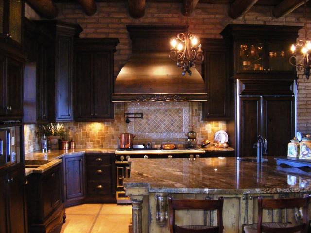 Dark Rustic Kitchen rustic and mediterranean