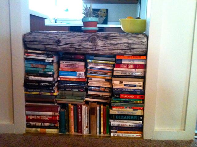 rustic bookshelf eclectic-kitchen