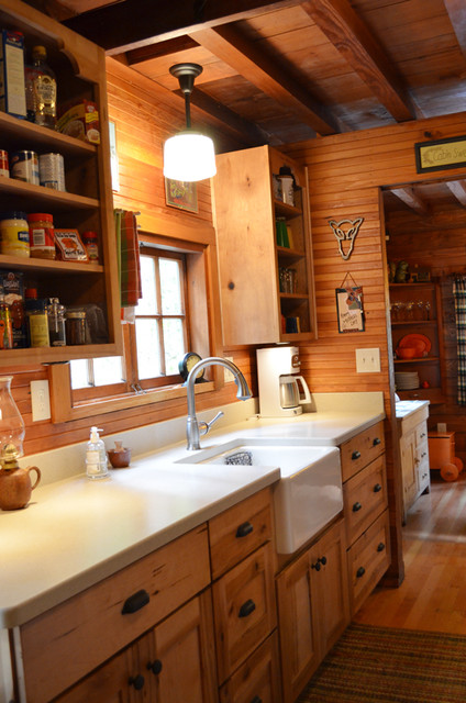 Rustic cabin galley kitchen rustic kitchen for Galley kitchen sink