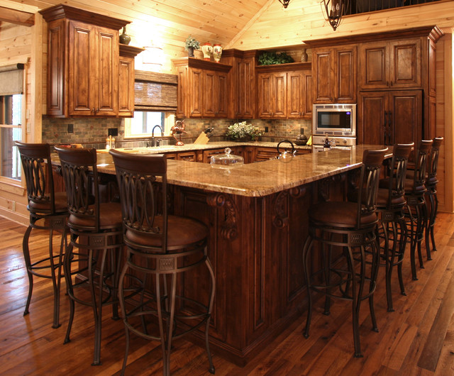 Rustic cabin style traditional kitchen charlotte for Traditional rustic kitchen