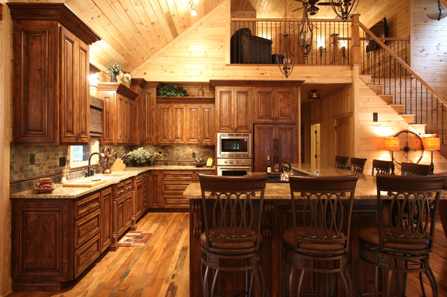Rustic Cabin Style - Traditional - Kitchen - Charlotte ...