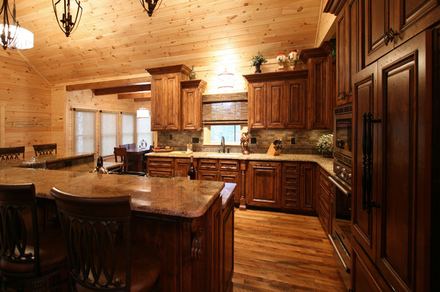 Rustic cabin style traditional kitchen charlotte for Traditional rustic kitchen design