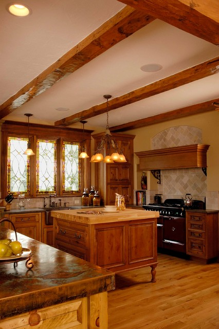 Rustic Cabinet Kitchen with Copper, Stone and Butchers Block Countertops - Traditional - Kitchen ...