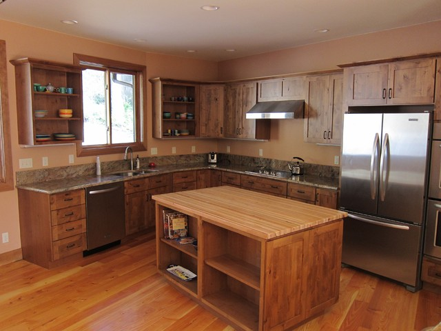 Rustic Cedar Single Story Home traditional kitchen