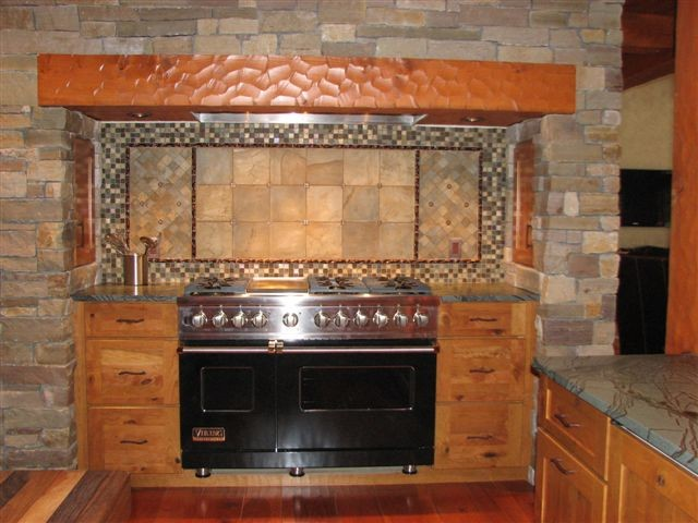 Rustic Cherry Cooking Area Rustic Kitchen Other By Eagle River Cabinets