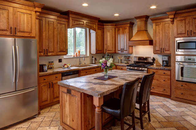 Rustic Cherry Traditional Kitchen