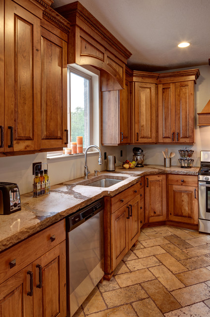 Rustic Cherry Traditional Kitchen Salt Lake City By Crown Cabinets