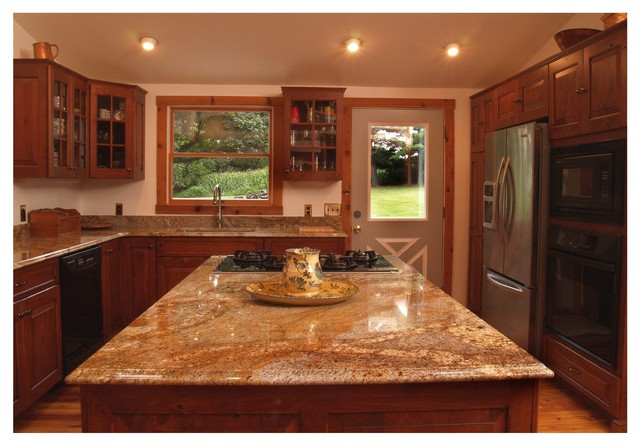 Rustic cherry kitchen with glass doors in columbia md for Baltimore kitchen cabinets