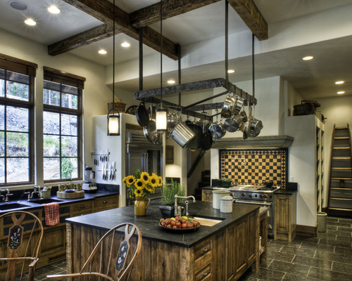 Kitchen Island With Hanging Pot Rack In Small Kitche