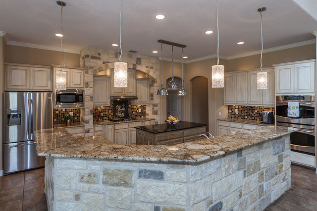 Rustic gourmet kitchen rustic kitchen austin by for Gourmet kitchen designs