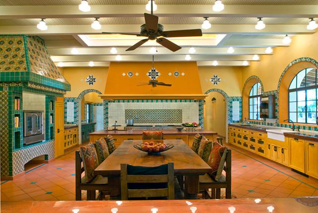 Rustic Mediterranean Ranch Mediterranean Kitchen Houston By Leedy Interiors