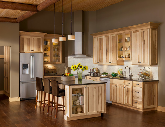 Rustic kitchen Kitchen colors with natural wood cabinets