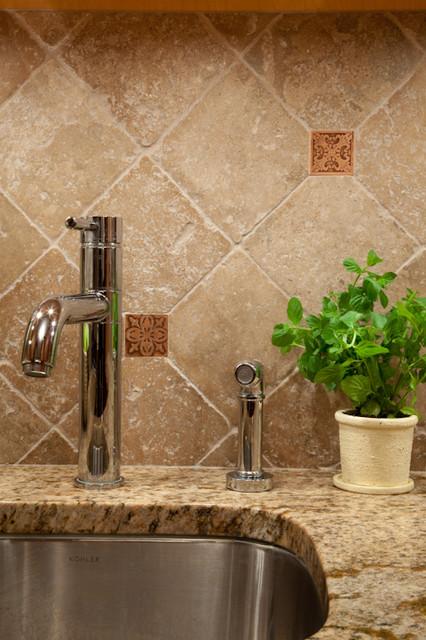 rustic kitchen backsplash detail - craftsman - kitchen - new york