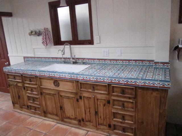 Rustic Kitchen Counter Mediterranean Kitchen Orange