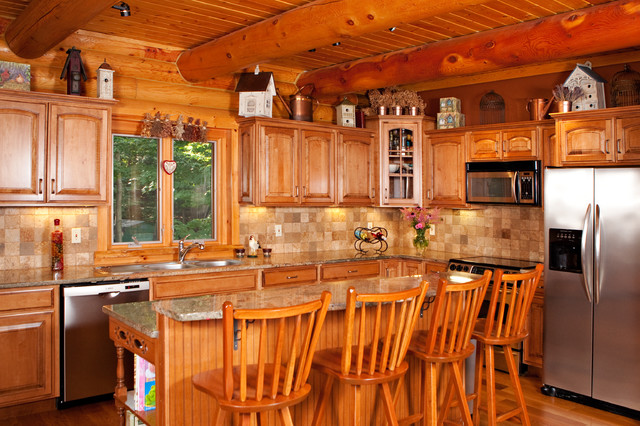 Log cabin rustic kitchen new york by george apap for Log home kitchens gallery