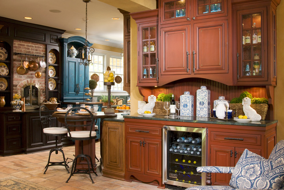 Example of a country kitchen design in Indianapolis with brown cabinets